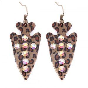 Leopard and Crystal Arrowhead Earrings